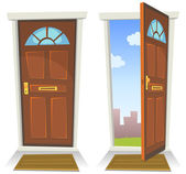 Cartoon Red Door Open And Closed