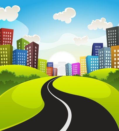 Illustration for Illustration of a cartoon road driving from fields and meadows landscape to downtown in spring or summer season - Royalty Free Image