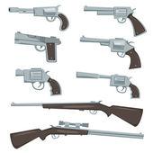 Cartoon Guns Revolver And Rifles Set