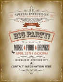 Illustration of a retro vintage invitation poster to a big party with floral patterns sketched banners and grunge texture