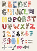Illustration of a set of hand drawn sketched and doodled kids ABC letters and font characters in childish style also containing dollar and euro currency symbols