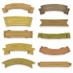 Illustration of a set of cartoon spring wooden awa...