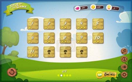 Illustration pour Illustration d'un drôle de fond d'interface utilisateur de jeu graphique de printemps, dans le style de dessin animé avec des boutons et des fonctions de base, barre d'état, arrière-plan rétro vintage, pour tablette grand écran - image libre de droit