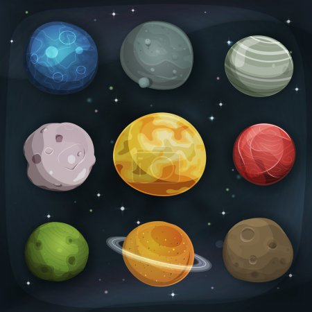 Illustration for Illustration of a set of various comic planets, moons, asteroid and earth globes on scifi starry space background - Royalty Free Image