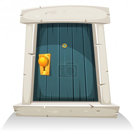 Illustration for Illustration of a cartoon comic little curved wood door with stone doorframe - Royalty Free Image