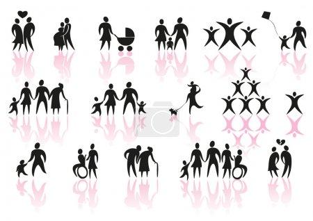 Illustration pour Ensemble d'icônes de famille et de couple - image libre de droit
