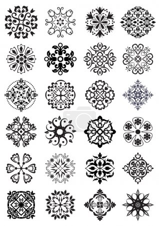 Illustration for Set of different circular shape damask and arabesque classical vintage decorations - Royalty Free Image