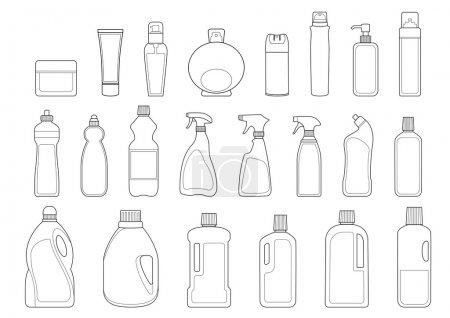 Illustration pour Articles de toilette bouteilles icône ensemble contour - image libre de droit