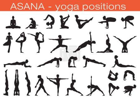 Illustration pour Ensemble de silhouettes différentes personnes en position de yoga - image libre de droit
