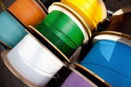 Fiber cables in bright colors