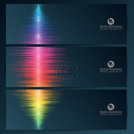 Set of abstract banners with music equalizer wave...