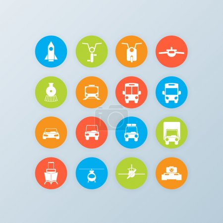 Set of 16 transport icons