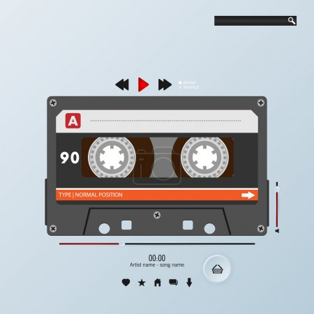 Vector cassette in envelope music player template