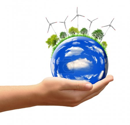 Foto de Planeta con turbinas de viento en las manos aisladas en blanco - Imagen libre de derechos
