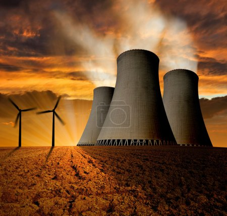 Nuclear power plant and wind turbines
