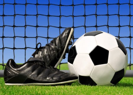 Soccer ball and shoes
