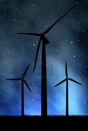 Foto de Turbinas de viento en el cielo nocturno - Imagen libre de derechos