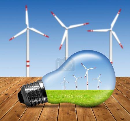 Foto de Turbinas eólicas en bombilla - Imagen libre de derechos