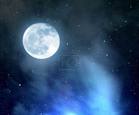 Photo for Night sky with stars,nebula and moon - Royalty Free Image