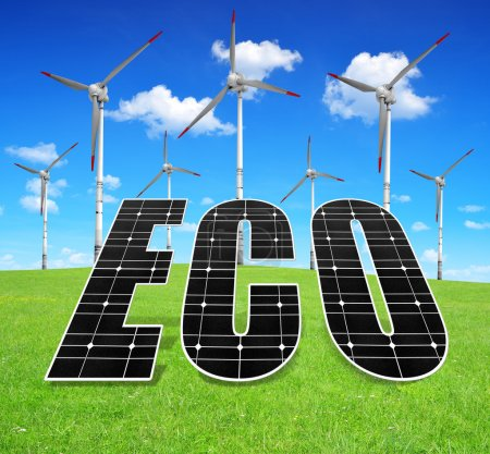 Foto de Paneles de energía solar y aerogenerador en Prado - Imagen libre de derechos