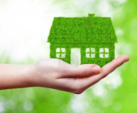Photo for Green house in hand - Royalty Free Image
