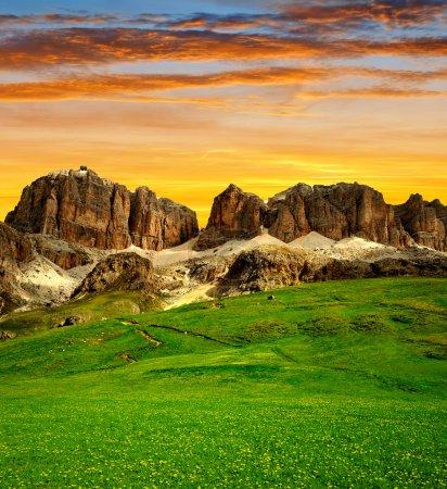 Photo for Dolomite peaks,Sella,Val di Fassa, Italy Alps - Royalty Free Image