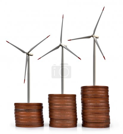 Coins with wind turbines