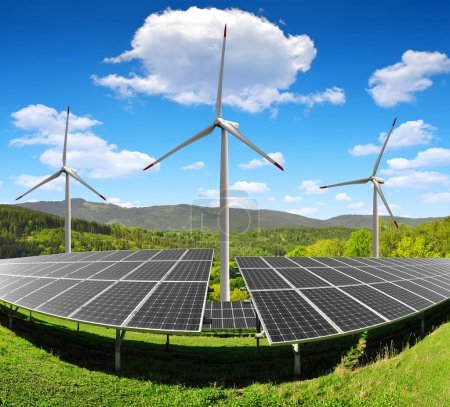 Photo for Solar energy panels and wind turbines - Royalty Free Image