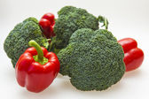 Broccoli and sweet red peppers