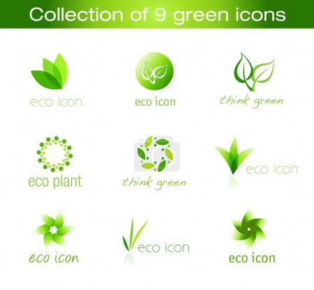 Illustration for Nine eco icons. They can be used with graphics related to ecology, environment or organic products. - Royalty Free Image