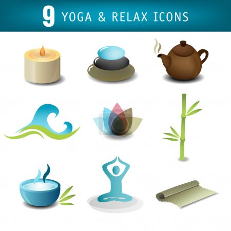 Illustration for Nine yoga icons - Royalty Free Image