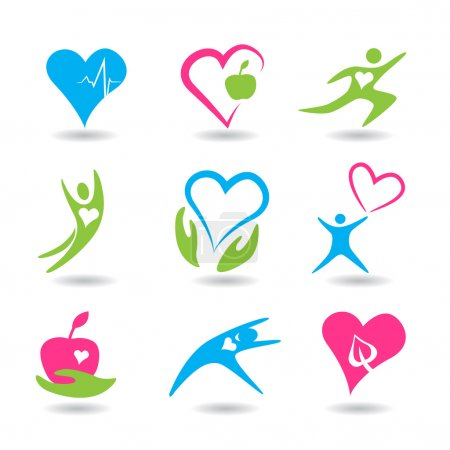 Illustration for Nine icons symbolizing healthy hearts. - Royalty Free Image
