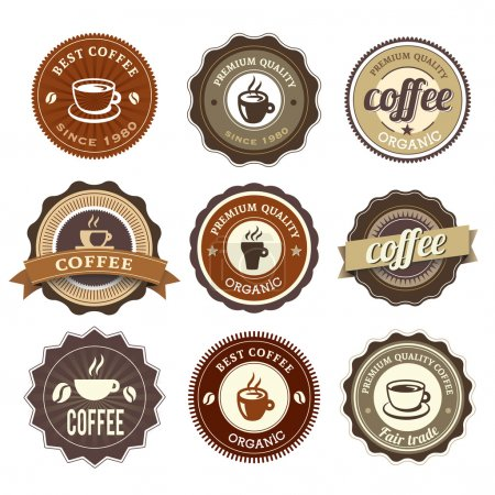 Photo for Nine Coffee Badges For Web Or Print - Royalty Free Image