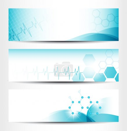 Illustration for Three Medical Banners For Web Or Print - Royalty Free Image