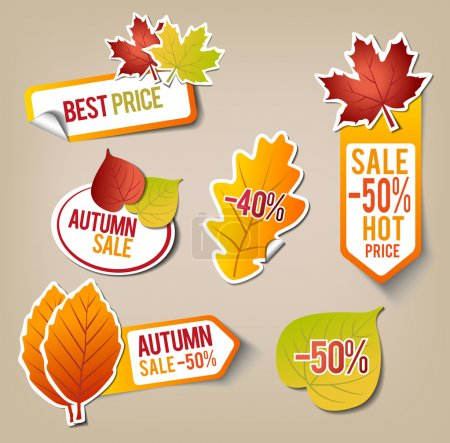 Illustration pour Collection d'autocollants de vente automne - image libre de droit