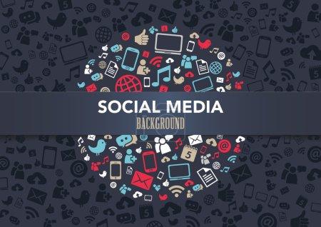 Illustration pour Fond de technologie avec les icônes de médias sociaux - image libre de droit