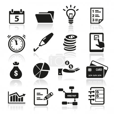Illustration for Collection of productivity and time management icons - Royalty Free Image