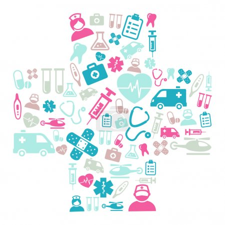 Illustration for Background made of icons representing medicine and healthcare - Royalty Free Image