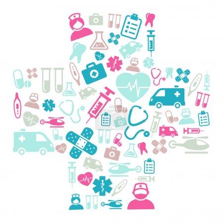 Photo pour Contexte composé d'icônes représentant la médecine et les soins de santé - image libre de droit