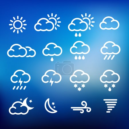 Illustration for Collection of weather icons for web or print - Royalty Free Image