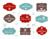 Nine Christmas labels with elegant winter symbols