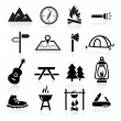 Collection of outdoor and camping icons...