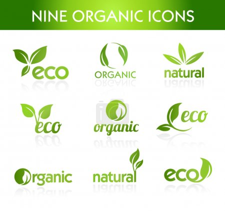 Illustration for Nine organic icons for ecological topics - Royalty Free Image
