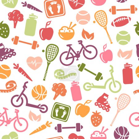 Illustration for Seamless pattern composed from icons representing healthy lifestyle. - Royalty Free Image