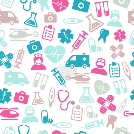 Photo for Seamless pattern composed from icons representing medical topics and healthcare. - Royalty Free Image