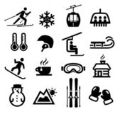 Collection of winter icons representing skiing and other winter outdoor activities