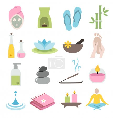 Illustration for Collection of icons representing wellness, relaxation and spa - flat design - Royalty Free Image