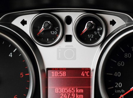 Close up of car dashboard