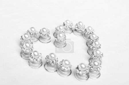 Hairpins on a white background
