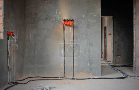 House under construction and repair at home. Electricity.